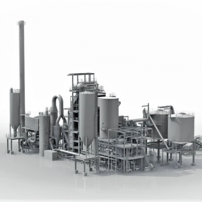 Industrial plant visualized with CAD blue prints